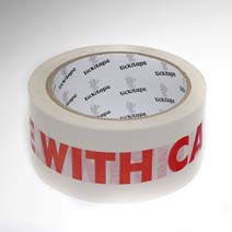 AS975 Printed vinyl packaging tape Glass with care 50mm x 66m